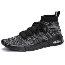 Men Flyknit Breathable High Top Sneakers Casual Leisure Mesh Walking Shoes Running Sports