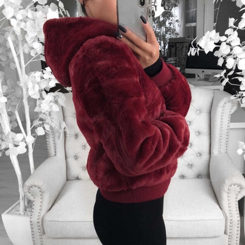 WENYUJH 2019 Faux kürk ceket Hood ile kadınlar yeni boy mont yüksek bel kadın Slim Fit palto üstleri kış sıcak peluş ceketler