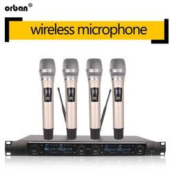 Metaliczny 4-kanałowy bezprzewodowy system mikrofonowy UHF  4 mikrofony ręczne do karaoke w kościele scenicznym