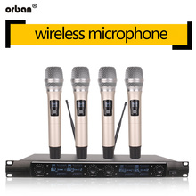 Metallic 4-channel UHF wireless microphone system, 4 handheld microphones for stage church family gathering karaoke uhf wireless microphones with screen 100m distance 2 channel handheld mic system stage karaoke wireless microphone