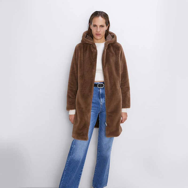 ZA New Winter Coat Women Turn-down Collar Long Sleeve Zipper Pockets Wool Coats And Jackets Women Autumn Warm Wool Coat Women