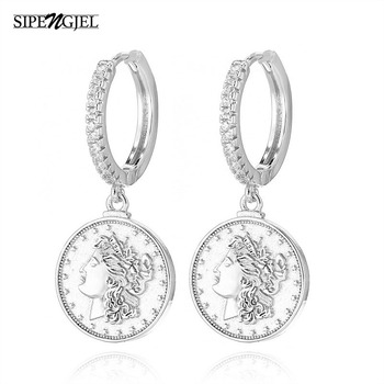 fashion cubic zirconia Gold Coin Earrings Classic Temperament Womens Jewelry For Women New
