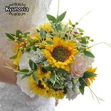 Kyunovia יפה הכלה זר חמניות ועלה חתונה פרחי כלה זרי חתונה זר עבור השושבינות BY64