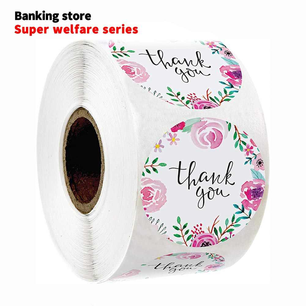500 Pcs /roll round pink flower thank you stickers seal label holiday gift decoration children stationery Handmade stickers