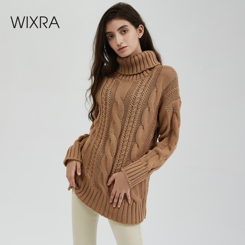 Wixra New Chunky Turtleneck Sweater Women Autumn Winter Solid Hollow Out Knitted Pullover Jumpers Loose Sweaters