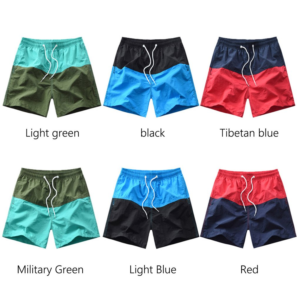 Summer Men'S Fashion Contrast Tethers Casual Trend Shorts Beach Pants Big Pants With Belt Straight Shorts