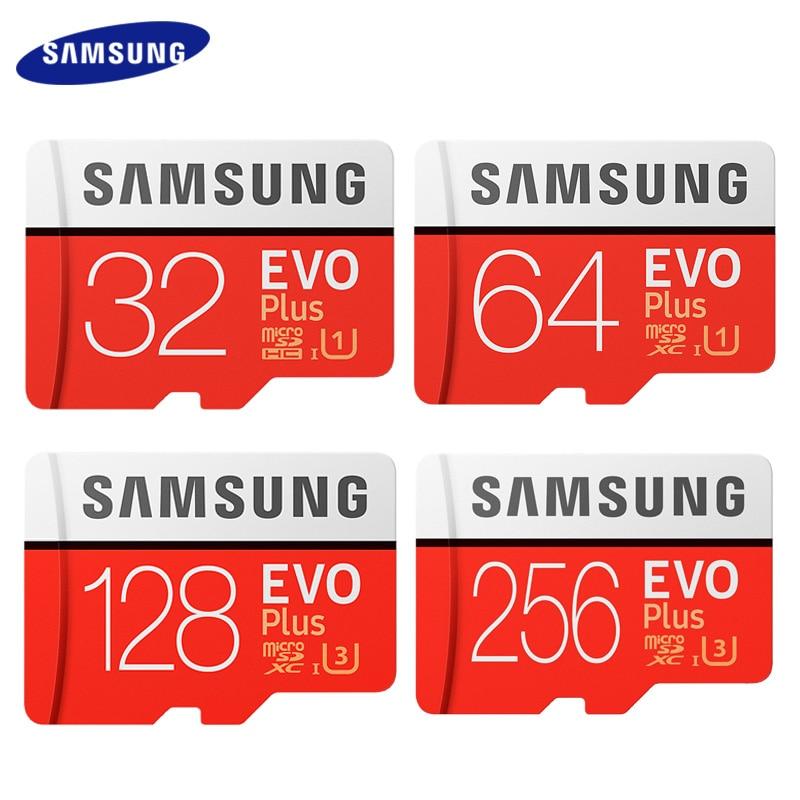 SAMSUNG-Tarjeta de memoria EVO PLUS de alta velocidad, 256GB, 100mb/s, microSD clase 10 U3, tarjeta TF, UHS-I, SD de 128 GB, 64GB y 32GB