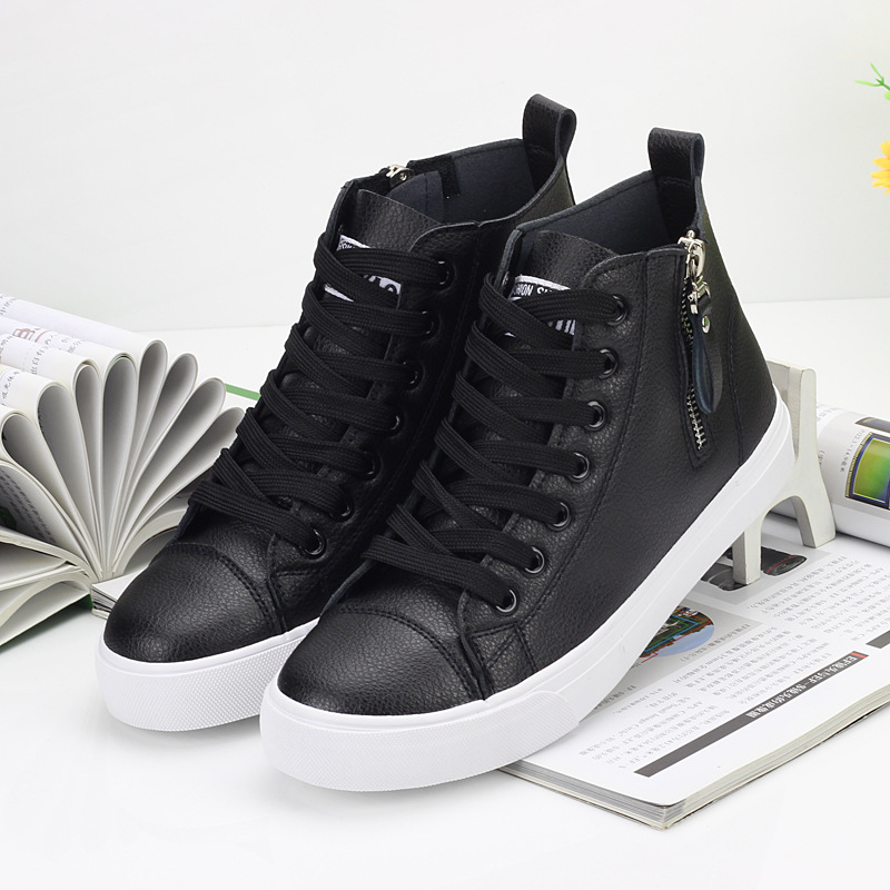 2018 Autumn And Winter New Women High-top Shoes Vulcanized Pu Leather Lace-up Flats Fashion Sneakers Best Sellers Boots Promotin