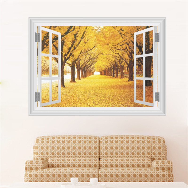 Us 449 10 Off3d Window View Autumn Forest Landscape Wall Sticker Wall Art Removable Bedroom Golden Trees Forest Wallpaper Kitchen Sticker On
