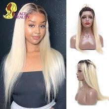 Perruque Lace Frontal Wig 613 naturelle malaisienne Remy, cheveux lisses, blond ombré 1B 613, pre-plucked, nœuds décolorés
