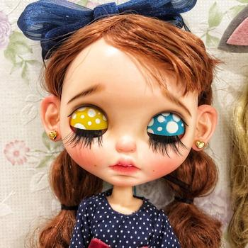 ICY 19 joint blyth doll with makeup face white skin Sleep eye Toothless Princess with brown hair DIY makeup doll
