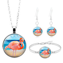 Perak Fashion Perhiasan Set Burung Flamingo Seni Pola Cabochon Kaca Kalung Gelang Anting-Anting Perhiasan Set Hadiah Valentine(China)