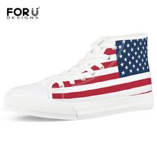 FORUDESIGNS Classic USA UK Flag Print High Top Canvas Shoes Casual Vulcanized Shoes for Women Personalized Ladies Flat Sneakers