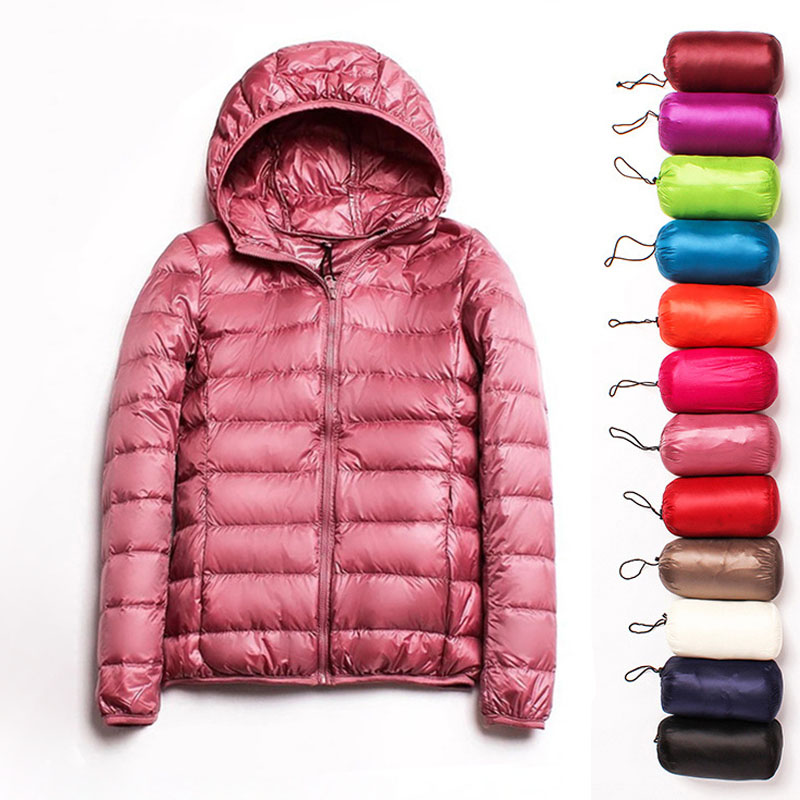 2019 Plus Size 3XL Autumn Coats   Jackets   Winter Women Ultra Light Duck Down   Basic     Jackets   Pink Warm Slim Hooded Pink Overcoat