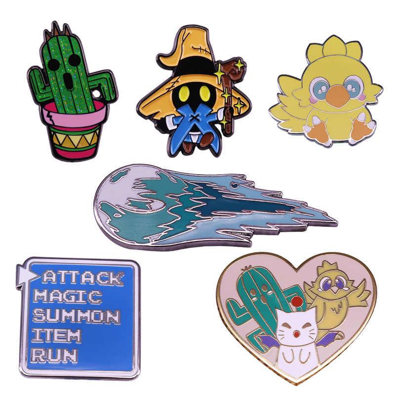 DZ133 Final Fantasy Gamer Emaille Pins En Broches Voor Vrouwen Mode Revers Pin Rugzak Tassen Badge Geschenken