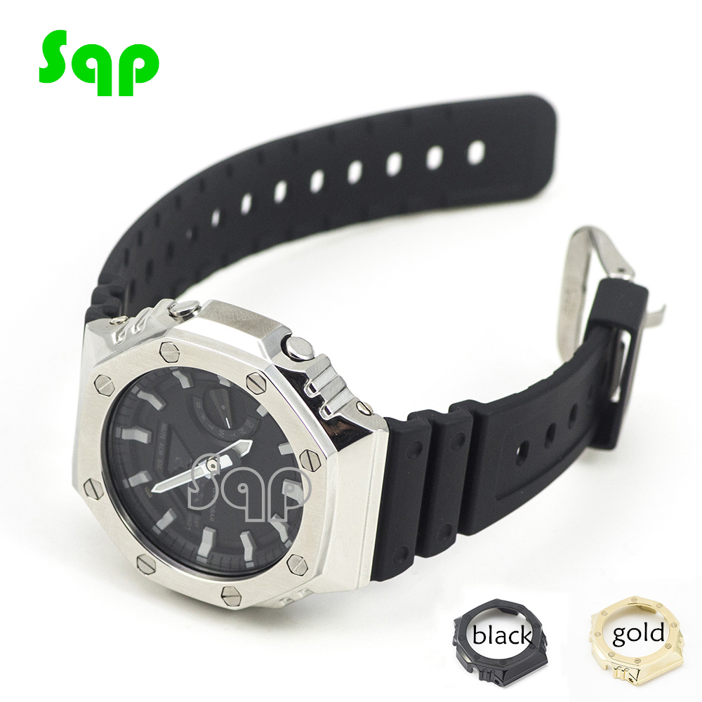 GA2100 Watch Set Modification Black Gold Silver GA2100 Watchband Bezel 100% Metal 316L Stainless Steel