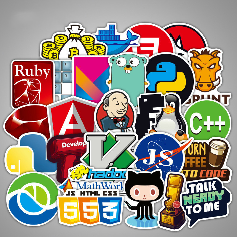 108 Pcs Internet Java Sticker Geek Programmer Php Docker Html Bitcoin Cloud C++ Programming Language For Laptop Car DIY Stickers