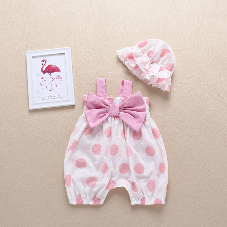 2019 NEW Baby Girls Clothes Summer Sunsuit Bow Dot Print Princess Rompers+Sun Hat Brief Set Infant Outfit Girls Jumpsuit Clothes