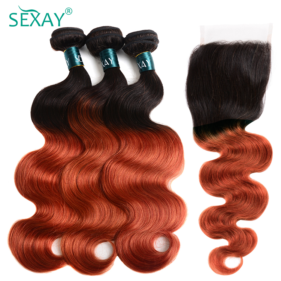 SEXAY Burnt Orange Human Hair Bundles With Closure Ombre 1B/350 Color Remy Brazilian Body Wave With Closure 2/3 Pcs With Closure