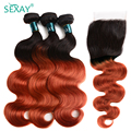 Человеческие волосы SEXAY сгоревшего оранжевого цвета, пряди с застежкой Омбре 1B/350 цветов, бразильские волнистые волосы с застежкой, 3 шт. с за...