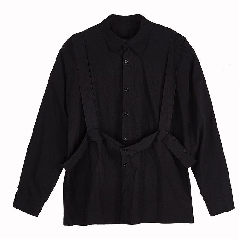 Japanese Yohji Style Men Darkness Oversize Cotton Shirts Catwalk High Street Owen RO Tees Shirt Outwear Shirt Chemise Homme