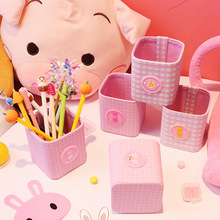 Girl heart creative pen holder Korean version ins fresh and lovely fashion storage box pink bucket desktop ornaments