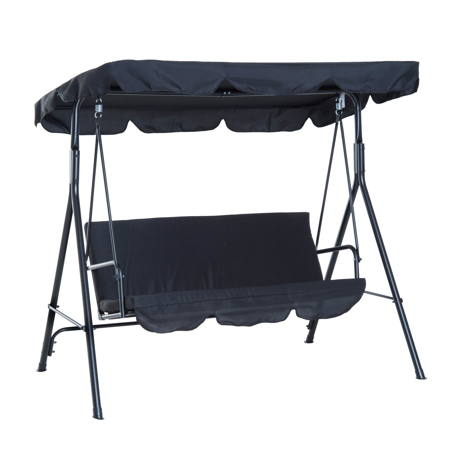 Outsunny Rocking 3 Seater With Sunshield Sunshade Tilting Steel Garden 172 × 110 × 152 Cm Black