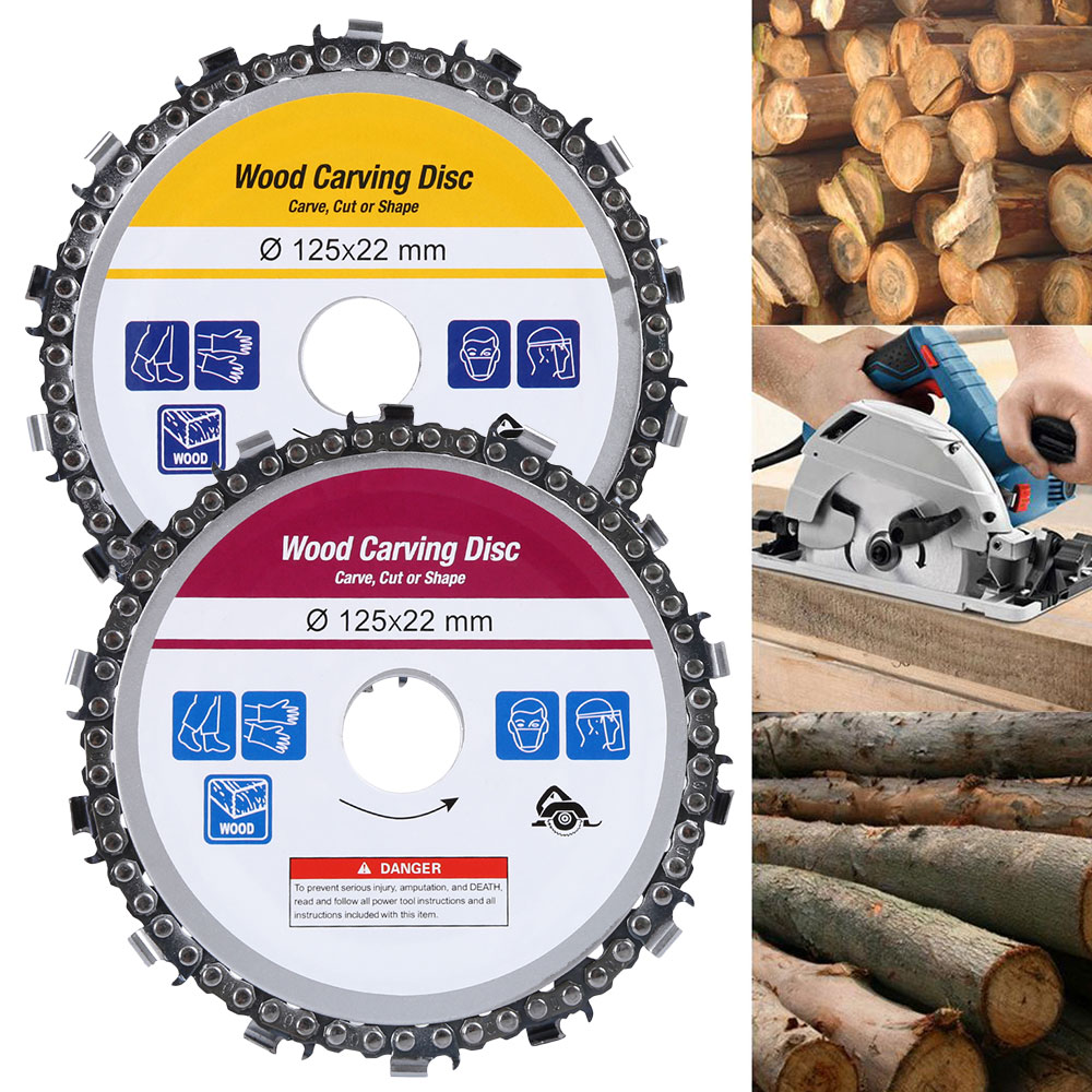 125mm 14 Tooth Grinder Chain Plate Wood Carving Disc Cutting Piece Woodworking Slotted SawBlade For Angle Grinder