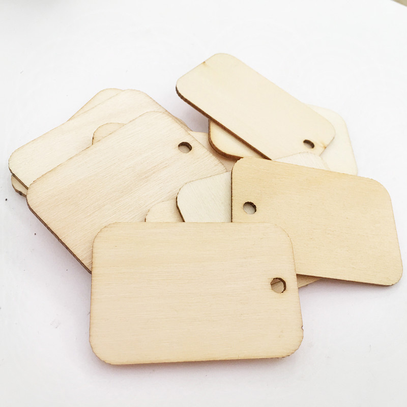 50Pcs Square Shape Wood Carfts With Hole DIY Scrapbooking Natural Wooden Handmade Accessory Home Room Decoration