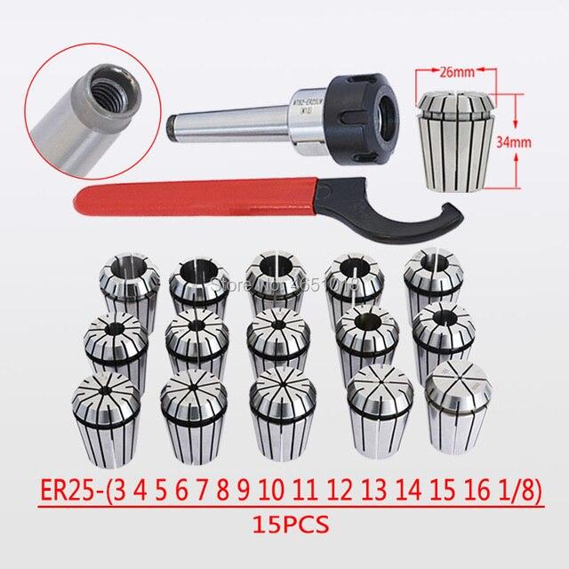 Moagem haste da ferramenta de perfuração e máquina de trituração de Mohs taper shank MT2 ER25 M10 MT3 ER25 M12 ER25 chuck COLLET 15PCS