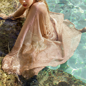 Image 3 - See though Gossamer Beach cover up Sexy bikini 2020 sash belt Long beach dress Gold tunic kimono o neck swimwear women biquini