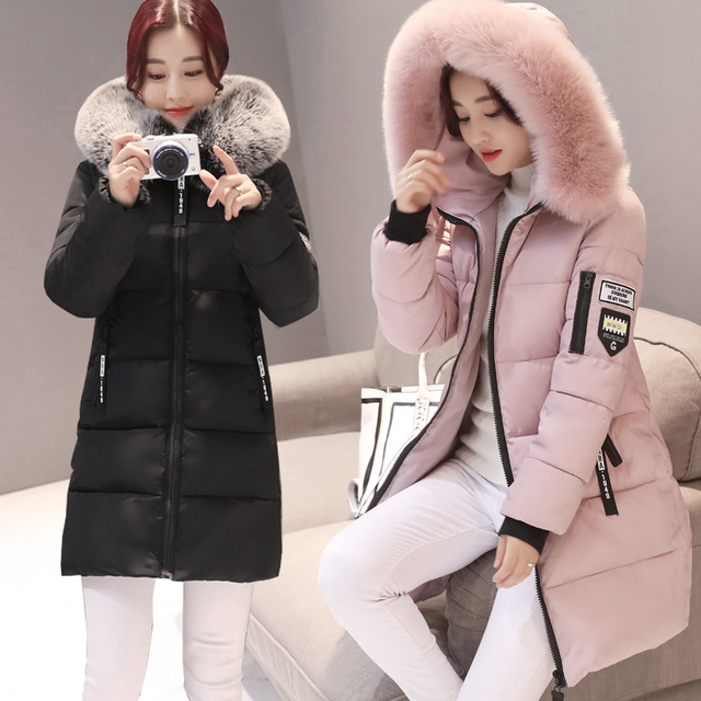 2019 New Parka Womens Winter Coats Womans Long Cotton Casual Fur Hooded Jackets Warm Parkas Female Overcoat Coat Free shipping 2