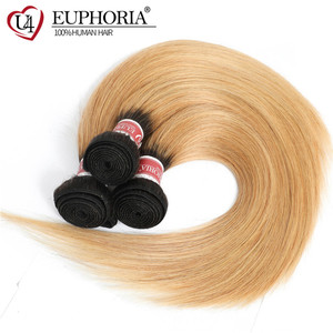 Image 2 - Ombre Color Straight Hair 3 Bundles 1B Burgundy 99J Red Color Brazilian Non Remy Human Hair Weaving 1/3/4 Pcs Bundles Euphoria