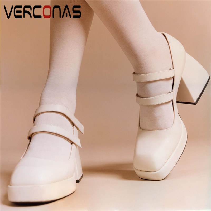 VERCONAS  2020 Fashion Spring Summer Woman Pumps Genuine Leather High Quality Office Lady Square Toe Square  Heeled Shoes Woman