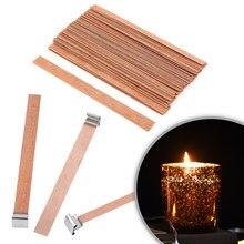 Mechas para velas de madera Natural, 6mm, 8mm, 13mm, núcleo con pestaña de soporte, DIY, fabricación de velas, suministros, mecha de cera de Parffin de soja para la familia, 100 Uds.