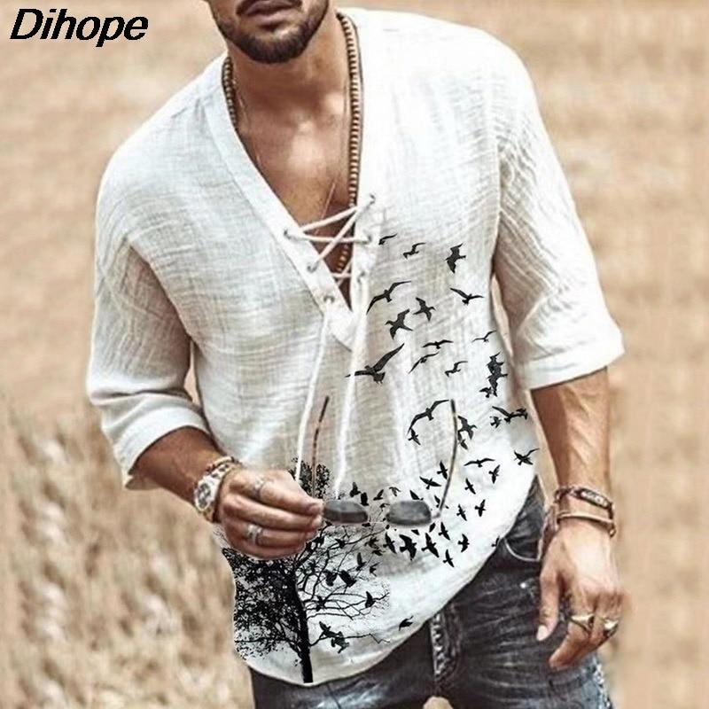 Men s Fashion Hippie Linen Shirt Bird Printed Casual Middle Sleeve V Neck Summer Beach Loose