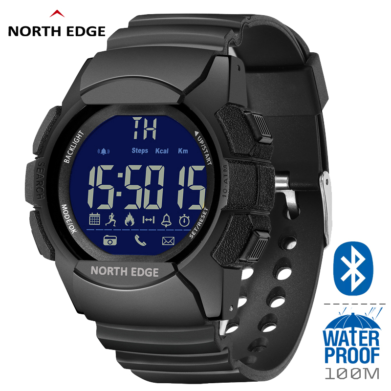 NORTH EDGE Men's LED Digital Watches Waterproof 100M 33-months Standby Time Pedometer Running Sports Smart Watch For IOS Android