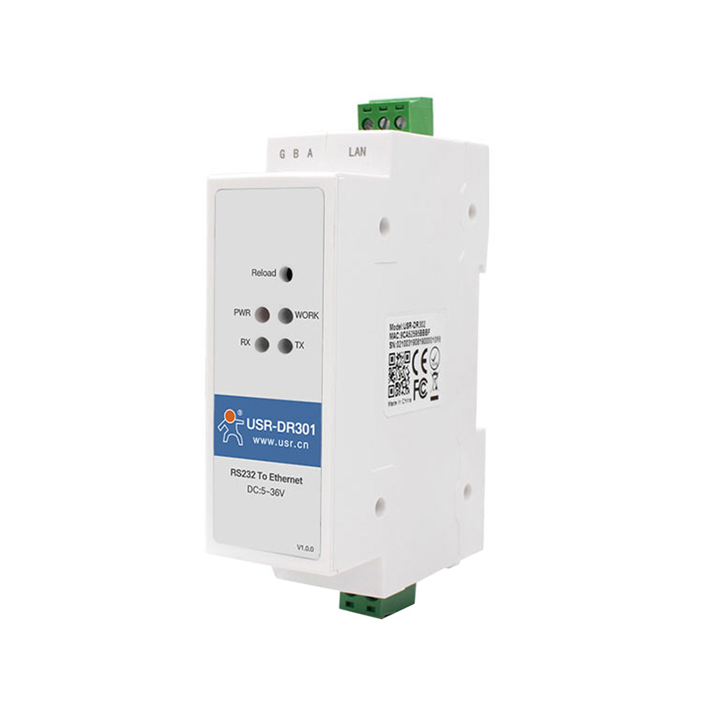 DIN-rail RS232 Serial To Ethernet Converter Tiny Size Networking Transmission Server Device Support Modbus RTU To TCP Gateway