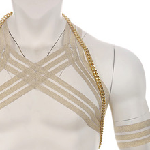 Hot Sexy Men Body Chest Metal Chain Harness Elastic Shoulder Strap Stage Costume Clubwear