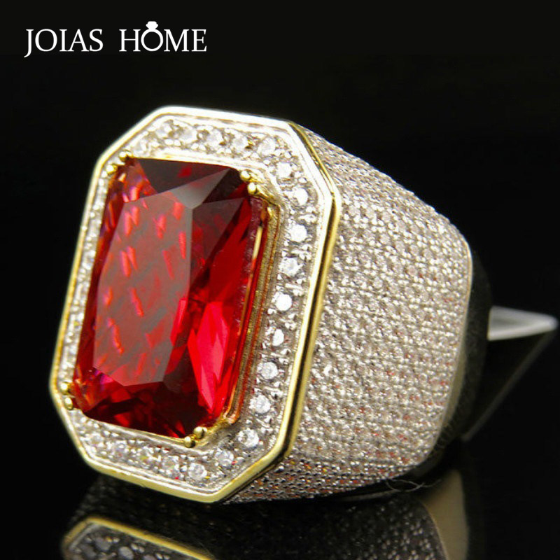 JoiasHome <font><b>925</b></font> <font><b>Sterling</b></font> <font><b>Silver</b></font> <font><b>Ring</b></font> European and American Classic Square Ruby <font><b>Men's</b></font> <font><b>Ring</b></font> <font><b>Men's</b></font> Anniversary Gift Size 8-12 image