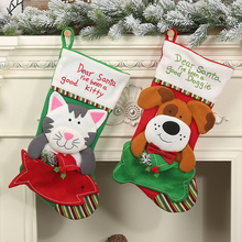 цена на Christmas Stockings Pendant Cloth Christmas Tree Elk Snowflake Ornament Christmas Pattern Print Party Home Decoration Gift Bag
