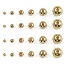 18k banhado a ouro 3/4/5/6/8mm contas de extremidade de bola de cobre redondo rolha contas espaçador para fazer jóias diy pulseira neckalce