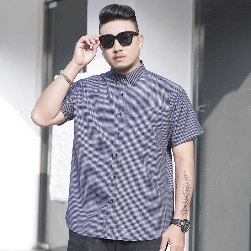 5 색 여름 짧은 소매 셔츠 남자 느슨한 캐주얼 클래식 격자 무늬 비즈니스 플러스 크기 셔츠 남성 브랜드 의류 6XL 7XL 8XL 10XL