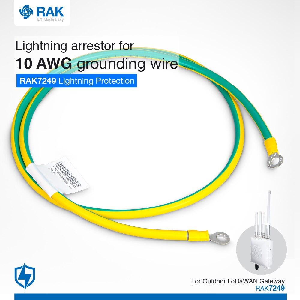 1 Meter Lightning Arrestor For 10 AWG Grounding Wire Lightning Protection For RAK7249 Outdoor LoRaWAN Gateway