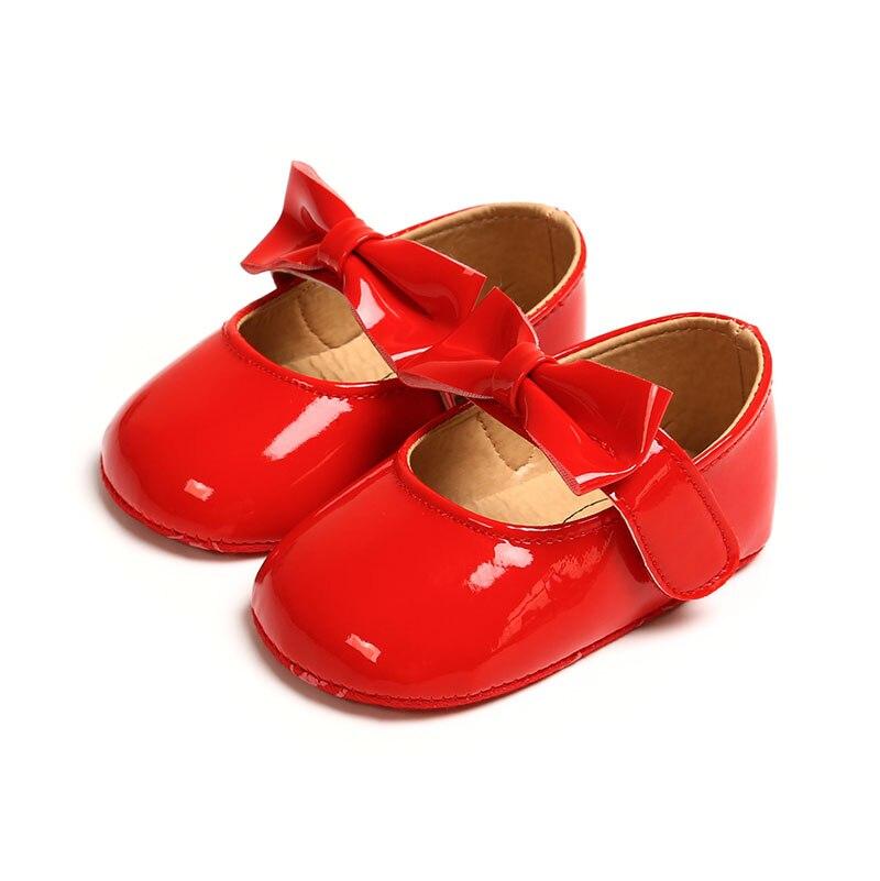 Toddler First Walker Infant Baby Bowknot PU Shoes Newborn Girls Soft Soled Princess Crib Shoes Prewalker