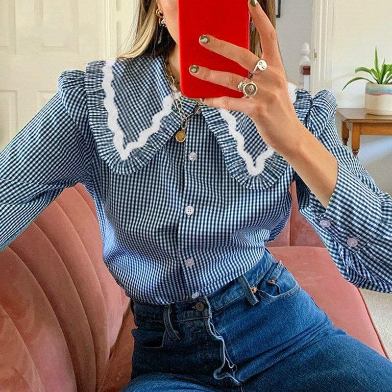 QWEEK Vintage Plaid Shirt Women Button Up Collared Shirt Long Sleeve Top Ladies Blue Cottagecore Blouse Elegant Casual Cotton