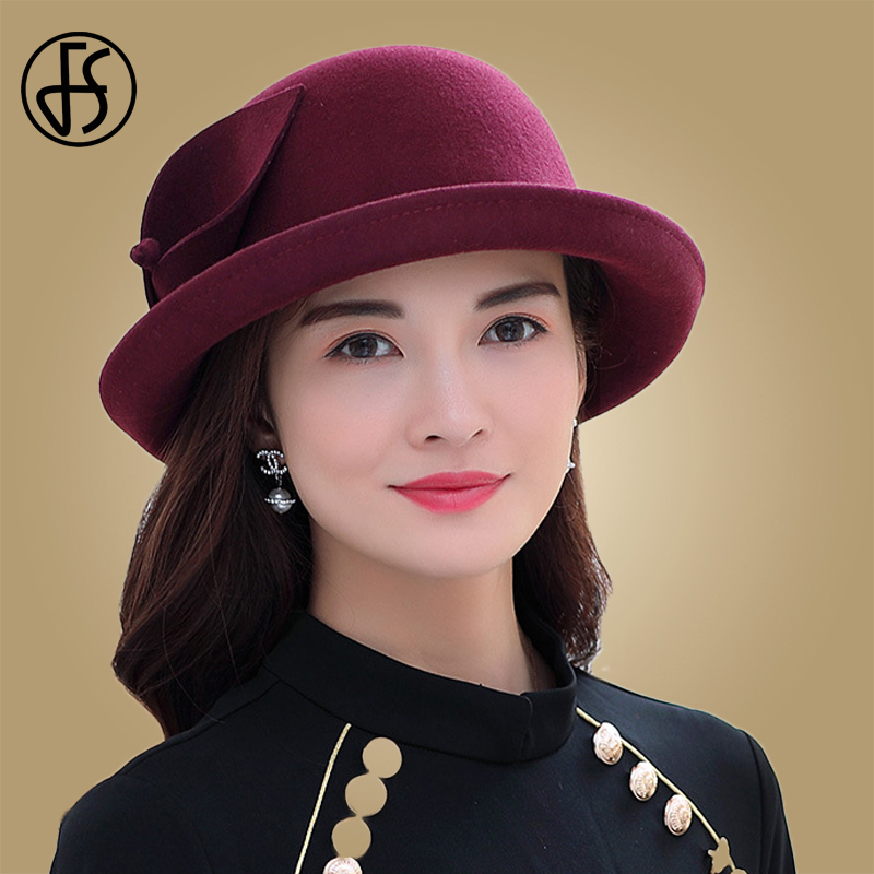 FS Women Wool Fedora Hat Winter Trilby Hats Balck Wine Red Female Roll  Brim Fedoras Felt Dome Floral Bowler Mother Gift