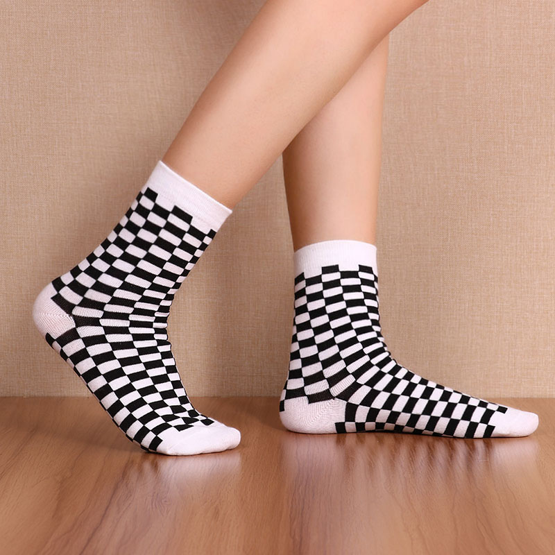 Korea Funky Harajuku Trend Women Checkerboard Socks Geometric Checkered Socks Men Hip Hop 1 Pair Cotton Streetwear Unisex Socks