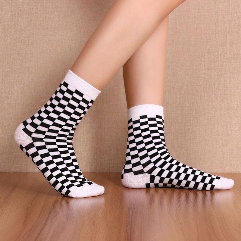 Korea Funky Harajuku Trend Women Checkerboard Socks Geometric Checkered Socks Men Hip Hop 1 Pair Cotton Streetwear Unisex Socks