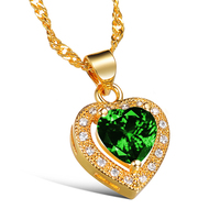 CH 543 Brand Luxury Cubic Zircon Heart Pendant Necklace Rose Gold Color CZ Crystal Necklace Women Gift